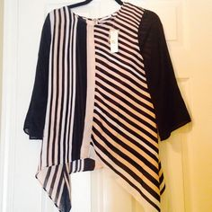 Classy Assymetrical Top. New! Beautiful peach and black stripes. Flattering fit. Button back detail. New York & Company Tops