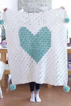 {Corner to Corner Crochet} C2C Chunky Heart Graph