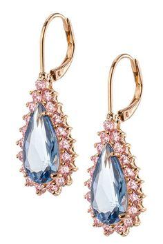 Pink & Aqua CZ Pear Drop Earrings by Kenneth Jay Lane on @HauteLook