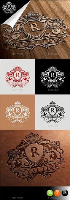 Royal Lion: Logo Crests Design Template by herulogo. Family Logo, Family Crest, Royal Logo, Branding Design, Logo Design, Print Design, Logos Retro, Crest Logo, Lion Logo