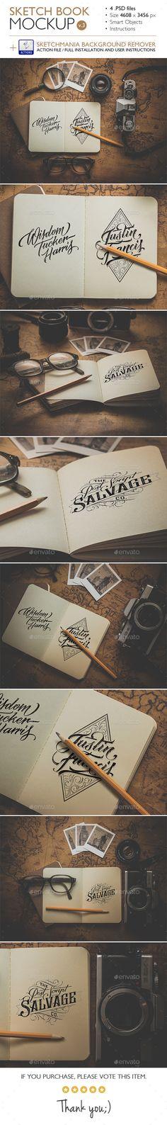 Sketch Book Mockup Design Template v.3 - Product Mock-Ups Graphics Design Template PSD. Download here: https://graphicriver.net/item/sketch-book-mockup-v3/14445579?ref=yinkira
