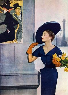 Jacques Fath - Lady in Paris- Late 1940's - born Maisons-Laffitte, France, (1912 – 1954) - was a French fashion designer who was considered one of the three dominant influences on postwar haute couture, (the others being Christian Dior and Pierre Balmain.)