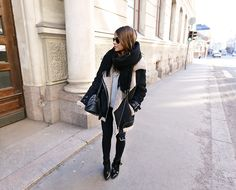 bundled up in black and tan