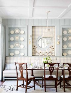 Farrow and Ball Light Blue painted paneling in a classic kitchen dining area. Blue and White Kitchen Decor Inspiration { 40 Home Decor Ideas to PIN} Banquette Design, Banquette Seating, Casas En Atlanta, Estilo Tudor, Pale Blue Walls, White Kitchen Decor, Rustic Kitchen, Dining Nook, Kitchen Dining