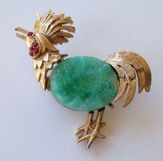 Vintage Rooster Chicken bird Figural Brooch Pin #fineforeverfashions