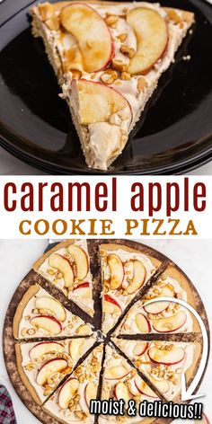 Serve pizza for dessert tonight! This Caramel Apple Sugar Cookie Pizza features juicy apples and chopped nuts baked on a soft cookie crust with caramel cheesecake topping. Drizzled with caramel, it's… Sweets Recipes, Apple Recipes, Fall Recipes, Baking Recipes, Sugar Cookie Pizza, Cookie Crust, Cheesecake Toppings, Caramel Cheesecake, Caramel Apple Cookies
