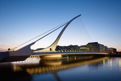 Designed by Santiago Calatrava, The Samuel Beckett Bridge in Dublin, Ireland resembles a harp which symbolizes the heritage of the city and the country itself. The bridge rotates 90 degrees to allow water traffic to pass through.