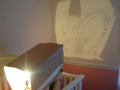 Homemade projector to make a mural on a wall in a nursery or anything else you can imagine up for almost any room of the home. Use a clear sheet protector and copy your picture or design on it with permanent marker to use on the projector :) Must do!