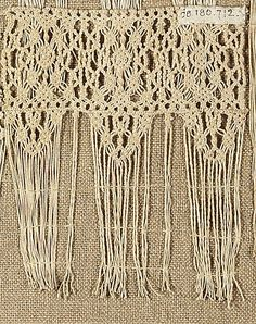 Fragment  Date: 19th century  Culture: Italian  Dimensions: L. 4 1/2 x W. 4 inches 11.4 x 10.2 cm  Classification: Textiles-Laces-Macrame  Accession Number: 08.180.712