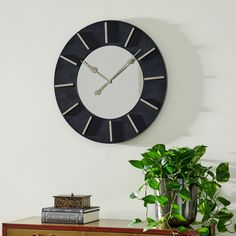Mdf Wood, Wood Wall, Wall Clock Hanging, Minimalist Wall Clocks, Black Clocks, Living Styles, Wood Accents, Weathered Wood, Black Faux Leather