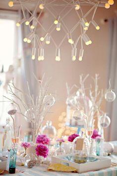 Idées de décoration de table du jour de l'An lumières