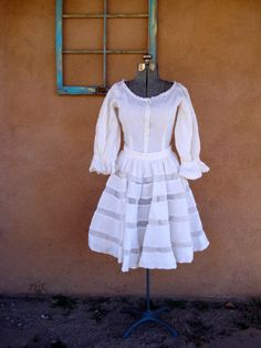 Vintage 1960s Mexican Patio Dress Tachi Castillo Pintuck US 6 8 B36 W28 2012759