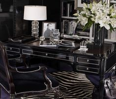 Office by Ralph Lauren. A sharp home office from Ralph Lauren Home, a collection of masculine desk accessories arranged on our Brook Street Desk. Home Office Space, Home Office Design, Home Office Decor, House Design, Office Ideas, Office Designs, Office Spaces, Black And White Interior, Black White