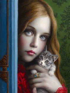 "Chie Yoshii, ""Curiosity"" Oil on Wood Panel, 2018 ""好奇心"" 木製パネルに油彩, Art And Illustration, Fantasy Kunst, Fantasy Art, Art Amour, Pop Surrealism, Art For Art Sake, Surreal Art, Animal Paintings, Oeuvre D'art"