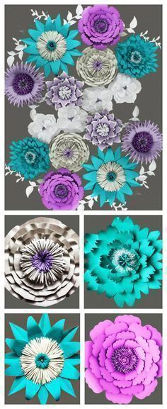Paper Flower Backdrops continue to be super trendy for wedding decor in 2016. They can be customized to your color scheme and style. #weddingbackdrops