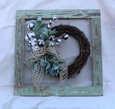 Your place to buy and sell all things handmade Reclaimed Wood Frames, Rustic Frames, Salvaged Wood, Picture Frame Wreath, Picture Frames, Farmhouse Style, Farmhouse Decor, Recycled Decor, Cotton Wreath