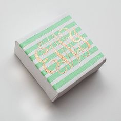 Custom Personalized Striped Mint and Gold Monogrammed Canvas by SimplyJessicaMarie, $25.00