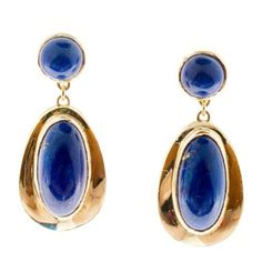 Pre-owned 14K Yellow Gold with Blue Lapis Lapis Dangle Earrings ($3,145) ❤ liked on Polyvore featuring jewelry, earrings, 14 karat gold earrings, 14k gold earrings, long gold earrings, gold jewellery and gold round earrings
