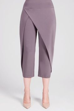 These cropped pants have a wrap look front with relaxed tapered legs. Thick yoke style pull on waist. - Stretch jersey knit - Inseam: - Polyester, Spandex - Hand-wash cold inside out, lay flat to dry - Made in Canada - Style # 27144 Dress Sewing Patterns, Clothing Patterns, Fashion Sewing, Diy Fashion, Fashion Pants, Hijab Fashion, Modest Fashion, Fashion Dresses, Pants For Women