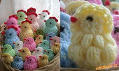 Malé kuřátko: 4.řet. oka spojit jedním pevným okem do kroužku, do tohoto kroužku uháčkovat 12 kr. sl... Crochet Birds, Easter Crochet, Knitted Animals, Kids And Parenting, Projects To Try, Origami, Throw Pillows, Knitting, Holiday