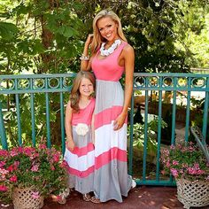 Jinjiu Family Matching Clothes,Mother and Daughter Clothes Floral Casual Tassels Romper Long Maxi Dresses