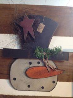 wooden snowman head door hanger