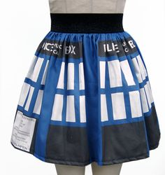 Printed Dr Who Inspired Full Skirt by GoChaseRabbits on Etsy, $54.99