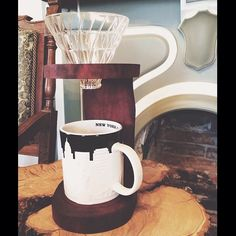Redemption Woodwork | Coffee Pour Over Stand {Stained, Bevelled, Sealed Avocado Wood} #coffee #pourover #V60 #redemptionwoodwork