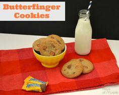 Butterfinger Cookies via raysofpurple.com #cookies #Butterfingers #recipe