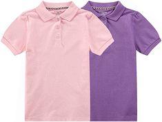 Amazon.com: Bienzoe Girl's Breathable Short Sleeve Polo 2pcs PACKC 10/12 Pink/Purple: Clothing Baby Daddy Shirt, School Uniform, Pink Purple, Purple Clothing, Mens Tops, Stuff To Buy, Polo, Clothes, Amazon