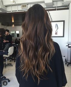 Trendy Long Hair Women's Styles    Chocolate brown with balayage highlights    - #HairStyle