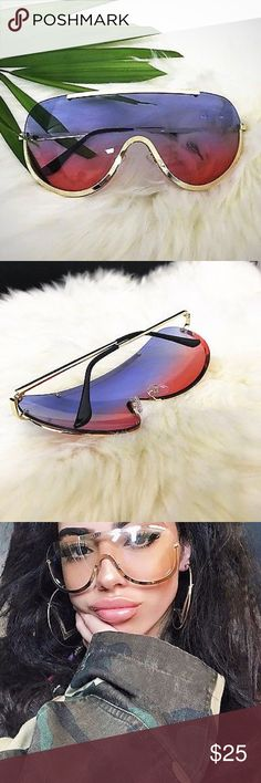 """Bubble Yum"" Rimless Retro Shields Shades ⭐️⭐️⭐️⭐️NEXT DAY SHIP⭐️⭐️⭐️⭐️⭐️                       Take sexy cop to a whole notha level, with these super sleek shield shade aviators. Rimless clear sunglasses embellished with gold.  INCLUDES SOFT BLACK FELT CASE!!!!! Brand new with tags Plastic Metal Fashion Sunnies UV Protected across temples                140 mm                        lens height             58 mm                        nose bridge 18 mm              arm length 140 mm…"