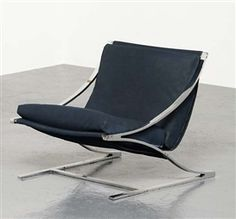 """Artwork by Paul Tuttle, """"Zeta"""" chair, Made of Chrome-plated steel, leather."""