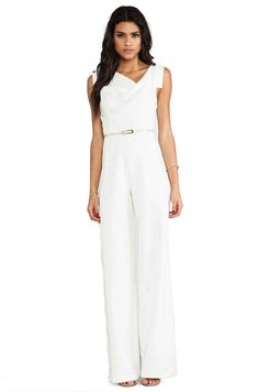 Shop for Black Halo Jackie Jumpsuit in Winter White at REVOLVE. Free day shipping and returns, 30 day price match guarantee. Fashion Design For Kids, Fashion Tips For Women, Street Style Trends, Street Style Women, Halo, Conservative Fashion, 2015 Fashion Trends, Bridal Jumpsuit, White Jumpsuit