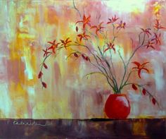 Red Orchid Arrangement flower floral art oil painting palette knife canvas contemporary modern, painting by artist Karla Nolan