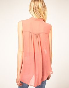 Just Female Sheer Pastel Sleeveless Shirt