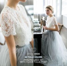 Dress Tulle Set Lace Crop Top with Sleeves and Tulle skirt