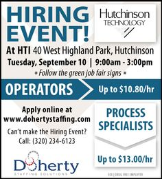 Doherty Job Fair in Hutchinson for HTI, September 10, 9 am-3pm