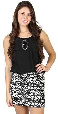 #Deb Shops                #Skirt                    #blouson #dress #with #tribal #bodycon #skirt       blouson dress with a tribal bodycon skirt                                     http://www.seapai.com/product.aspx?PID=1871298