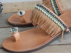Pompom Sandals Greek Boho Sandals Pom Pom Sandals by Kiklosart