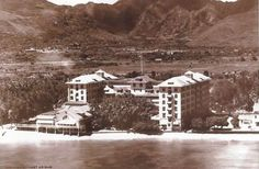 Great aerial from old Surfrider Hotel in Waikiki Beach, Oahu, Hawaii, from 1905.