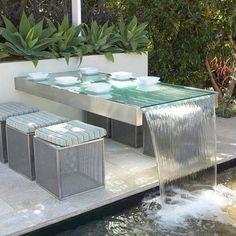 Design Cascade, Modern Water Feature, Outdoor Dining, Outdoor Decor, Dining Table, Patio Table, Patio Dining, Outdoor Play, Backyard Pool Designs