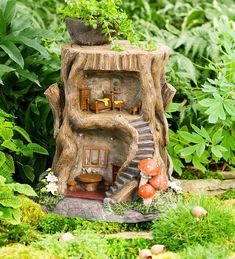 Two-Story Lighted Fairy House in Fairies Dragons and Fantasy #fairy #fairygarden #miniature #gardening