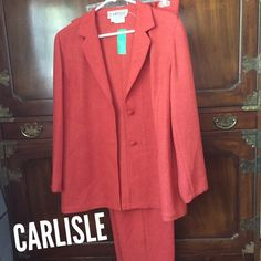 Just In! Carlisle Suit Jacket & Pants. Size 12 Vintage Carlisle suit includes pumpkin colored single breasted blazer and pants with side zipper. Both size 12. Excellent condition. Vintage Jackets & Coats Blazers