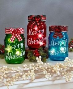 """Bring some country cheer to your holiday decor with the Set of 3 LED Mason Jars. Each different colored glass jar is inscribed with """"Merry Christmas"""" in an eleg Mason Jar Art, Pot Mason, Mason Jar Gifts, Jar Crafts, Bottle Crafts, Christmas Projects, Holiday Crafts, Christmas Ideas, Holiday Decor"""