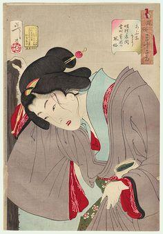 Dangerous: the appearance of a contemporary geisha of the Meiji era, No. 28 by Yoshitoshi (1839 - 1892)