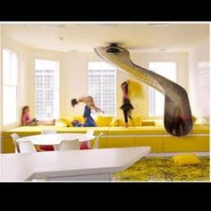 Play room with slide and indoor trampoline
