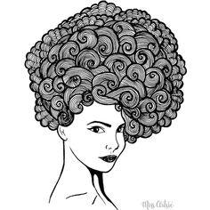 Miss Artsie Turban hair hand drawn pen illustration Art Print