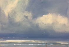 """""""Storm walk - seascape"""" by Mike Barr. Paintings for Sale. Acrylic Painting On Paper, Upcoming Artists, Dont Fall In Love, Buy Art Online, Storm Clouds, Paintings For Sale, Online Art Gallery, Impressionism, Original Artwork"""