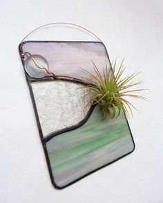 Stained Glass Panel Air Plant Holder  Soft and Serene by glassetc, $28.99